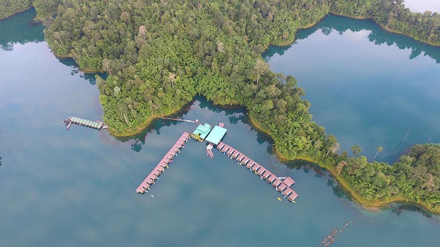 Floating Houses in Chiew Lan Lake