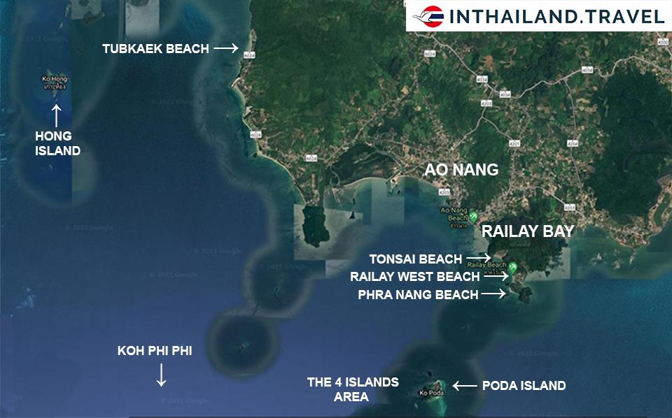 beaches of krabi map
