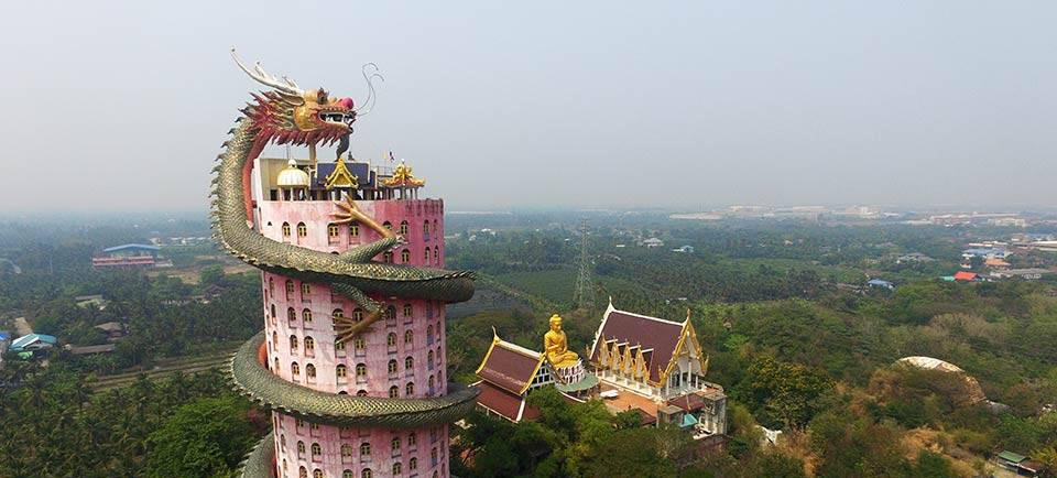 Wat Samphran, the dark Temple of the Dragon in Thailand