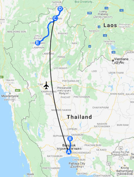 15 days route thailand map