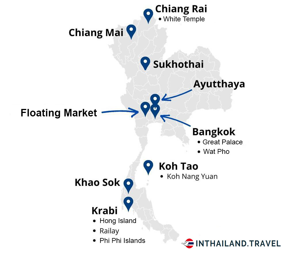 Map what to see in Thailand