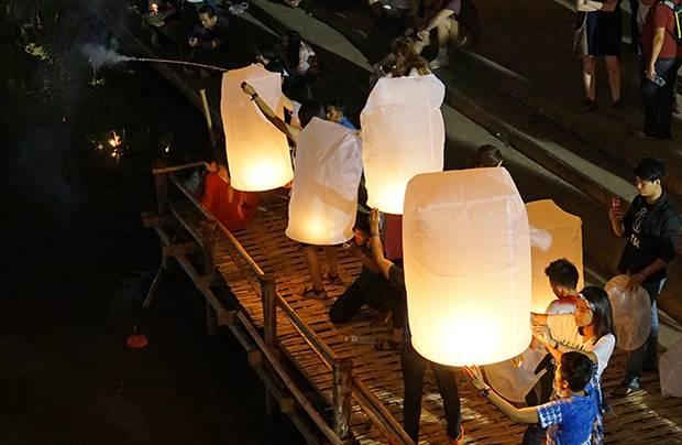 releasing flying lanterns