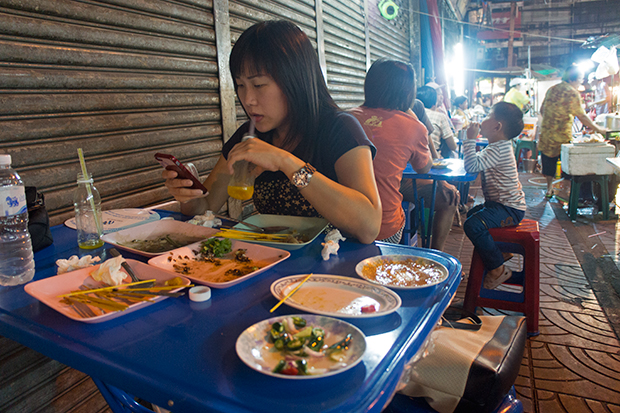 Mati enjoying street food