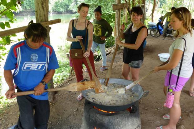 preparing food for elephants